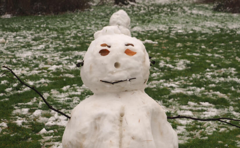 Schneemann im Januar 2021